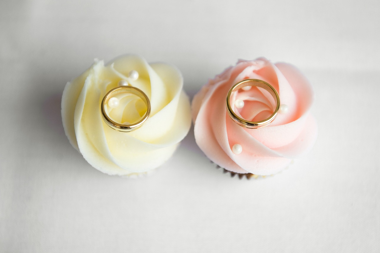 Rings on Wedding Cupcake